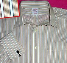 16 33 BROOKS BROTHERS FRENCH CUFF TAN CREAM RED GREEN  STRIPED WHITE MENS SHIRT