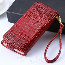 Magnetic Wallet Leather Case Card Slots Pouch Phone Handbag Purse with Strap