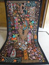 vintage Alteration Beaded work Wall hanging, Patchwork Old Sari work Wall 09
