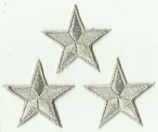 LOT 3 ECUSSON PATCH THERMOCOLLANT ETOILE ARGENT 4,5 X 4,5 CMS SILVER STAR