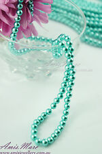 140 pcs/strand 6mm Turquoise Blue Faux Imitation Acrylic Round Loose Pearl Beads