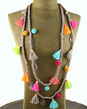 Hot Bohemian Fashion Jewelry Wood Beads Chain Long Necklaces Colorful Tassel
