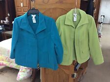 EUC! SET OF TWO WOMEN'S COATS FROM CHICO'S SIZE 0-SMALL TEAL/GREEN