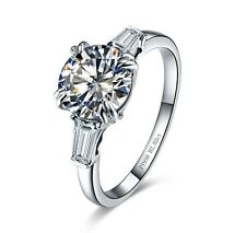 2CT C&C Certified Moissanite Diamond Ring Solid 14K White Gold Fine Ring Jewelry