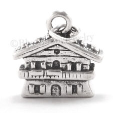3D CHALET Swiss Alps House Cottage Ski resort Charm Pendant  925 STERLING SILVER