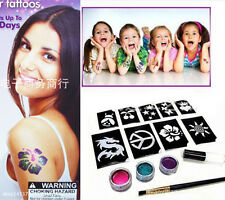 Body Temporary Tattoos Shimmer Glitter Powders Stencils Brushes Glues Kits Tool