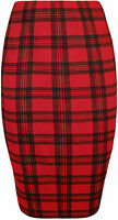 New Plus Size Womens Tartan Check Print Elastic Ladies Knee Length Skirt 14 - 28