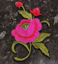Sew Iron On Applique Retro Embroidered Patch Motifs Large Tattoo Rose 13cm