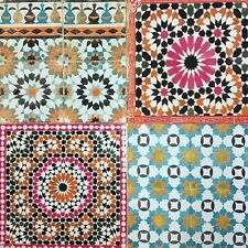 Botanical Moroccan Multicoloured Tile Wallpaper Spiro Multi Retro Tiles BA2504