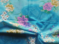 Silky Polyester Crepe Dress Making Fabric Abstract Oriental Cherry Blossom Blue