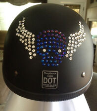 Bling Motorcycle Helmet made with Swarovski® Crystal Design-Black DOT-DD47*