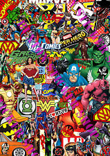 2 x Sticker Bomb Marvel Dc Comics Euro Vinyl Decal Vw Golf Dub Superman Batman