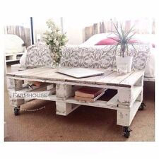 Farmhouse Pallet Coffee Table - 'ESMA' Reclaimed, Shabby Chic, Upcycled Wheels