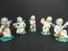 Rare Limbach Germany Putti Angels with Instruments Porcelain Figuines Set of 5