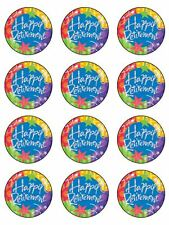 "12 x 2"" Happy Retirement Edible PRE-CUT PREMIUM RICE PAPER Cup Cake Toppers"