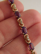 AMETHYST DIAMOND 14K GOLD TENNIS BRACELET 2.00 CTW GIFT BOX