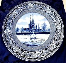 1870-1920 FRANZ MEHLEM ROYAL BONN Delft Blue WALL CHARGER PLATE 12 3/4""