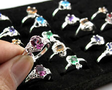 Wholesale Lots 10PCS Mixed Style & Blend Color Silver Crystal Cz Rings Size 9