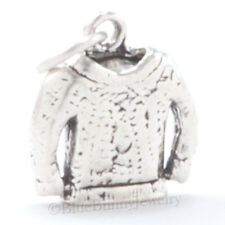 3D WINTER CHRISTMAS KNITTED SWEATER Sew Charm Pendant in 925 Sterling Silver