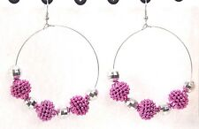 Jumbo big disco ball beaded earrings door knocker hoop silver pink shambala