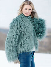 Donna Salyers Fabulous Furs Teal Tibetan Lamb Fashionista Faux Fur Jacket L New
