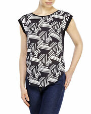 Catherine Malandrino Black & White Sleeveless Blouse Top NWT Sz S $78