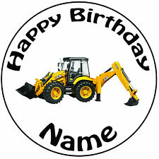 "Personalised Birthday JCB Loader Digger Round 8"" Easy Precut Icing Cake Topper"