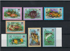 Tuvalu 1981 seven Definitive Fish stamps all OFFICIAL over prints POST FREE UK.