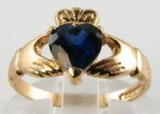 DIVINE 9K GOLD BLUE SAPPHIRE IRISH  CLADDAGH RING FREE RESIZING