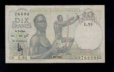 FRENCH WEST AFRICA  10 FRANCS 1952  PICK # 37  F-VF  BANKNOTE.