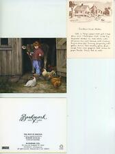 VINTAGE FOLK ART SOUTHERN FRIED CHICKEN RECIPE PRINT 1 COW CHICKEN FARM ART CARD