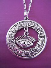 """FREE GIFT ** ANTIQUED SILVER Pendant with 18"""" CHAIN NECKLACE Large Aztec Eye"""