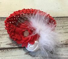 Handmade Red And White Vintage Flowers Baby Girl /Toddler /Girl Headband
