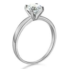 1cts Round Brilliant cut Solitaire Engagement Ring Real 14k Solid White Gold