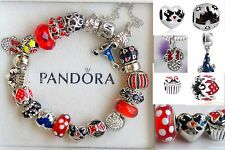 Authentic PANDORA BRACELET Disney Mickey Minnie Love Polka Dot Bead Charms