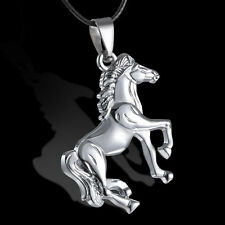 Rhodium plt Horse Pendant Leather Necklace Ladies Girls Mens Horse Lovers Gift