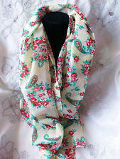 Scarf Cream Paisley  with Pink Green Flower with Free Gift Bag