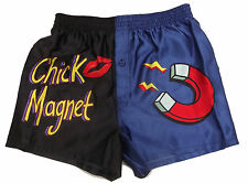 Novelty Satin Boxer Shorts ~ CHICK MAGNET ~ SMALL / 28 - 30""