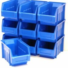10 BLUE STACKING STORAGE PARTS BINS FOR GARAGE STORAGE BOX