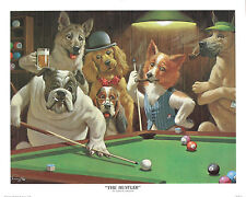 The Hustler by Arthur Sarnoff Dogs Playing Pool Print Poster 16x20