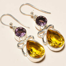 """FACETED AMETHYST , FACETED CITRINE 925 STERLING SILVER EARRINGS 1.5"""""""