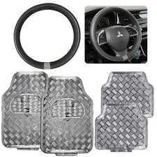Silver Metallic Design Rubber Car Floor Mats & Silver Ring Steering Wheel Cover