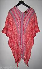 MISSONI Red Turquoise White cotton crochet knit zig zag PONCHO One Size BNWT