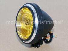 Motorcycle Black Edge Cut Bullet Headlight Lamp Bobber Chopper Cafe Racer Custom