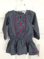 DKNY NWT Infant Girls 2PC Dress 12 12m Faux Denim Embroidery Blue Pink Green