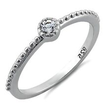 .925 Sterling Silver Ring size 7 CZ Beaded Midi Solitaire Ladies Fashion New x56