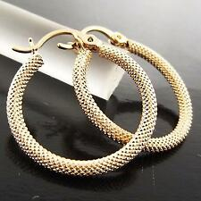 FSA062 GENUINE REAL 18K ROSE G/F GOLD SOLID CLASSIC ANTIQUE HOOP DROP EARRINGS