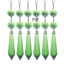 10 Green Chandelier Glass Crystals Lamp Prisms Parts Hanging Drops Pendants 55mm