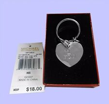 MICHAEL KORS KEY CHARMS Heart Silver Metal Key Fob Msrp $18.00 * ORIGINAL BOX*