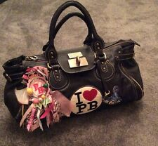 Large Paul's Boutique Handbag Bag Love PB Badge Padlock Leopard Print Black Teen